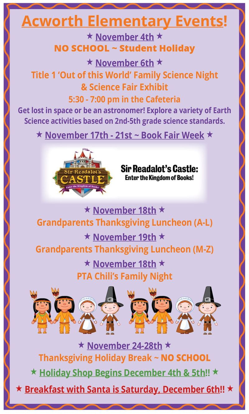 Upcoming Dates and Events November